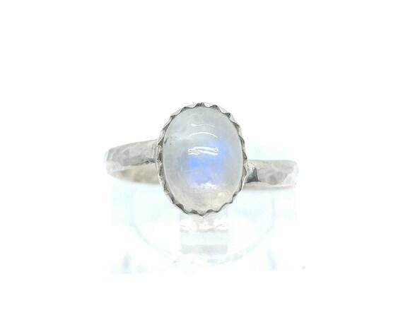Simple Moonstone Ring | Rainbow Moonstone Ring | Sterling Silver Ring Sz 6.5 | Simple White Ring | June Birthstone Ring | Blue Moonstone