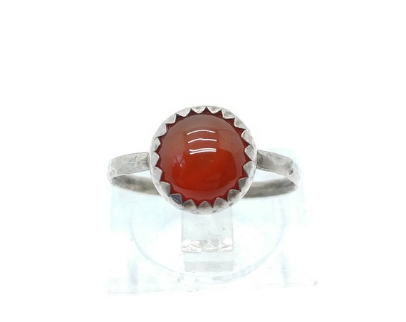 Red Carnelian Stone Ring in Sterling Silver Ring Sz 5