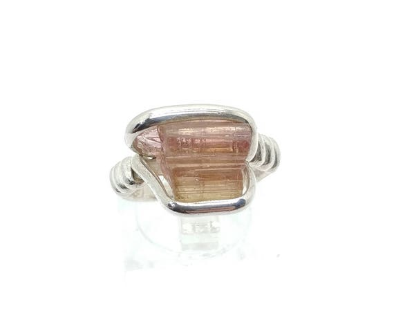 Rough Watermelon Tourmaline Ring | Sterling Silver Ring Sz 6 | Raw Tourmaline Ring | Uncut Gemstone Ring | Raw Tourmaline Jewelry