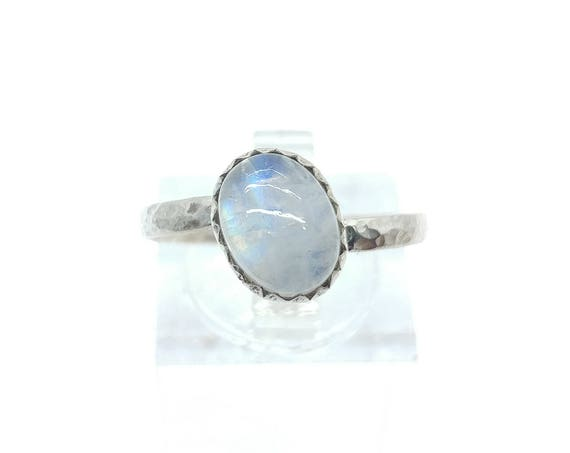 Simple Moonstone Ring | Rainbow Moonstone Ring | Sterling Silver Ring Sz 8.25 | Simple White Ring | June Birthstone Ring | Blue Moonstone