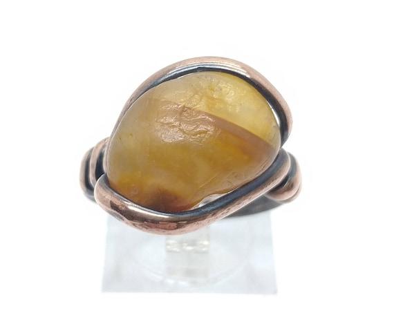 Oregon Beach Carnelian Agate Ring in Copper Sz 8.5