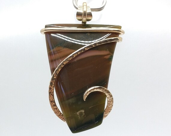 Dark Toned Royal Imperial Jasper in A Simple Hammered 14kt Yellow Gold Pendant A Rare Stone For a Rare Someone