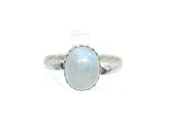Simple Moonstone Ring | Rainbow Moonstone Ring | Sterling Silver Ring Sz 7 | Simple White Ring | June Birthstone Ring | Blue Moonstone