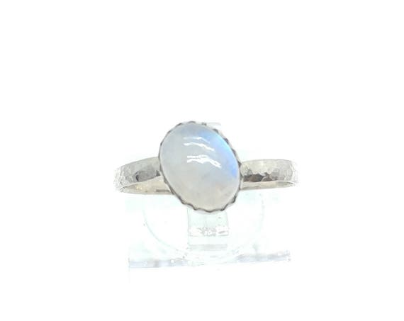Simple Moonstone Ring | Rainbow Moonstone Ring | Sterling Silver Ring Sz 9.5 | Simple White Ring | June Birthstone Ring | Blue Moonstone
