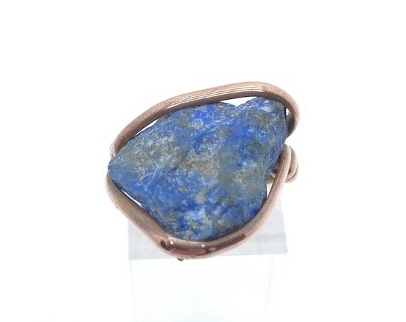 Raw Lapis Lazuli Ring | Copper Ring sz 7 | Raw Stone Ring | Raw Lapis Ring | Raw Gemstone Ring | Rustic Stone Ring | Rough Stone Ring