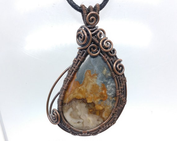 Fiery Oregon Moonrise Jasper Pendant Necklace | Wire Wrapped Copper Pendant | Wirewrapped Stone Pendant | Boho Fashion
