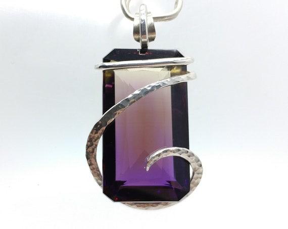 Ametrine Pendant Necklace | Simple Gemstone Pendant | Sterling Silver | Table Cut Faceted Ametrine | Ametrine Jewelry | Amethyst Citrine