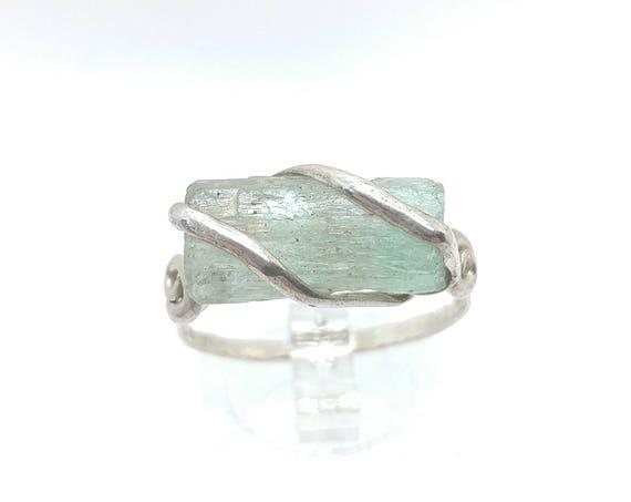 Raw Aquamarine Crystal Ring in Sterling Silver Sz 10.25