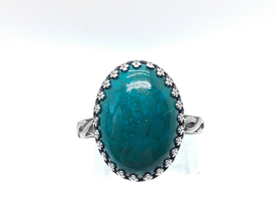 Large Victorian Ocean Blue Green Chrysocolla Stone Ring in Sterling Silver Band Sz 10 a Boho Chic Statement Fashion Piece Clearance