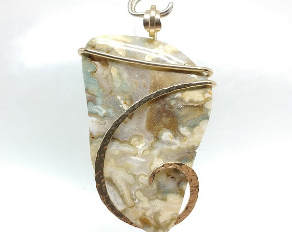 Green & Cream Central Idaho Plume Agate Stone Pendant in 14kt Yellow Gold FIll a Thoughtful Gift for a Lady Farmer