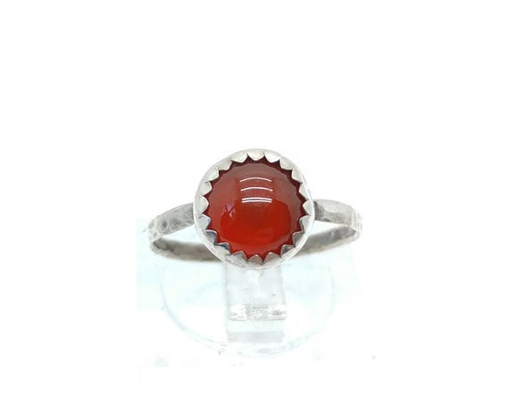 Natural Red Stone Ring | Sterling Silver Ring Sz 5.5 | Carnelian Stone | Carnelian Agate Ring | Carnelian Ring | Boho Ring | Gemstone Ring