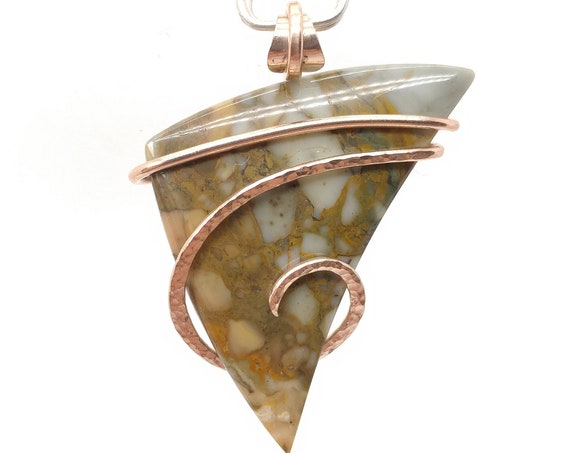 Picture Jasper Pendant | Rocky Butte Picture Jasper Pendant | 14kt Rose Gold Fill | Picture Jasper Necklace | Oregon Picture Jasper Jewelry