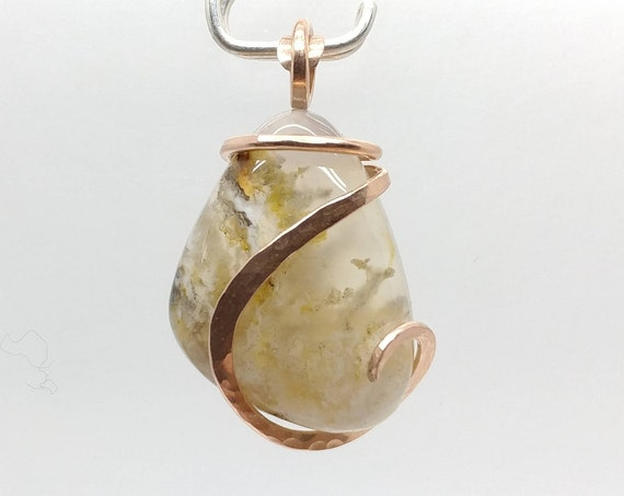 Graveyard Point Plume Agate Pendant Necklace in Hammered 14kt Rose Gold Fill A Rare Stone Found in Fossil Hot Springs Mined in Oregon
