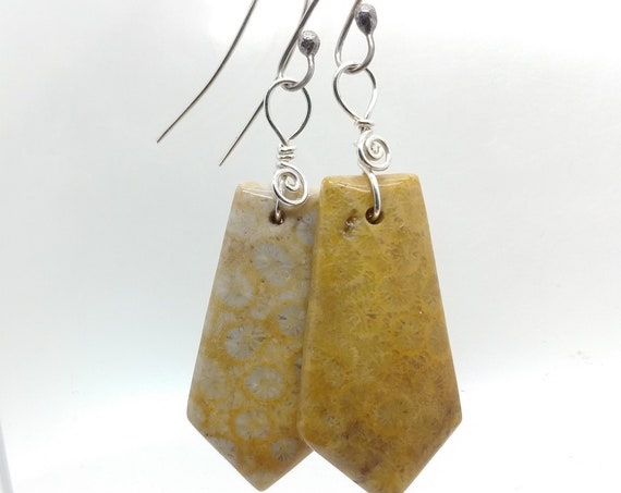 Boho Fossil Coral Gemstone Dangle Earrings in Sterling Silver