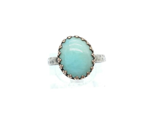 Simple Blue Stone Ring | Larimar Ring | Mixed Metal | Sterling Silver Ring Sz 7.25 | Ocean Blue Gemstone RIng | Dominican Republic