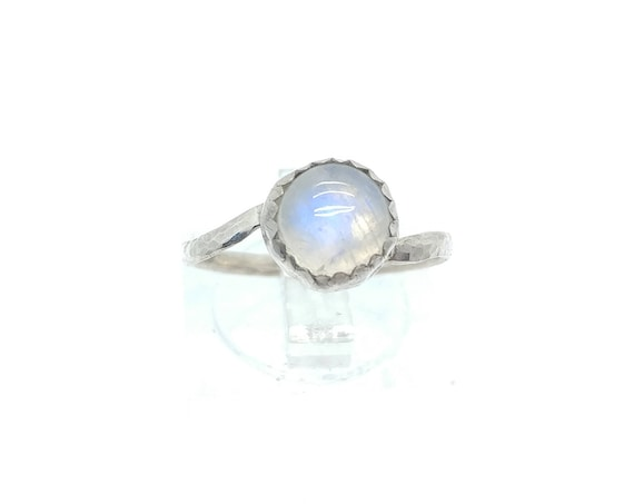 Rainbow Moonstone Ring | Sterling Silver Ring Sz 7.25 | Simple White Ring | June Birthstone Ring | Simple White Stone Ring | Blue Moonstone