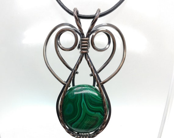 Natural Forest Green Round Malachite Stone Pendant Necklace in a 100% Recycled Oxidized Copper Elven Fantasy Jewelry