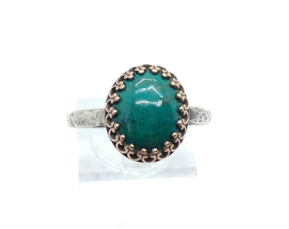 Victorian Ocean Blue Chrysocolla Stone Ring in Mixed Metal Antique Brass & Sterling Silver Band Sz 10.25 Clearance