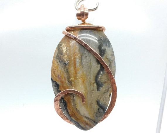 Orange Yellow and Black Widowmaker Bumblebee Plume Agate Jasper Stone Pendant Necklace in Hammered Copper A Rock Your World Exclusive