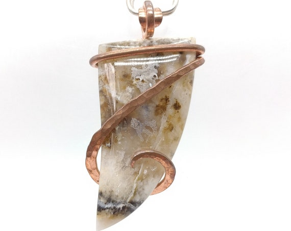 Plume Agate Necklace | Graveyard Point Plume Agate Pendant | Copper | Rare Stone Pendant | Included Agate Pendant | Rustic Pendant