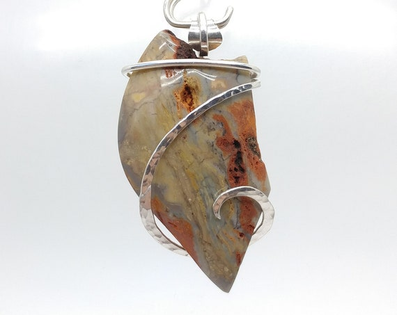Pastel Colors Watercolor Jasper in Hammered Sterling Silver Rustic Pendant Necklace a Stone for Artists Dreamers and Treasure Hunters