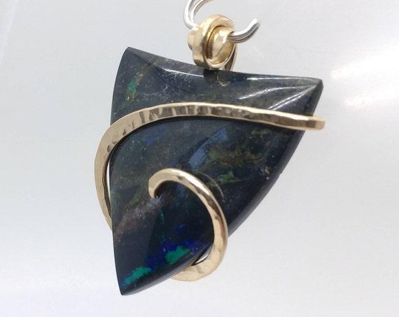 Chrysocolla Pendant | 14kt Yellow Gold Filled Pendant | Gemstone Pendant | Chrysocolla Jewelry | Boho Necklace | Natural Stone Pendant