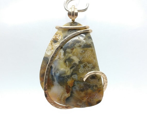 Green Widowmaker Plume Moss Lace Agate Stone Pendant Necklace in 14kt Yellow Gold Fill, Mined in Oregon from Fossil Hotsprings
