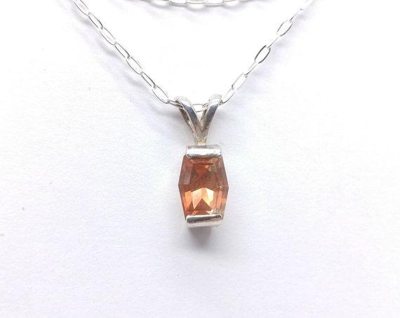 "Red Oregon Sunstone Pendant   Sterling Silver Pendant & 18"" Chain   Faceted Oregon Sunstone Crystal Pendant Necklace   Mined in Oregon"