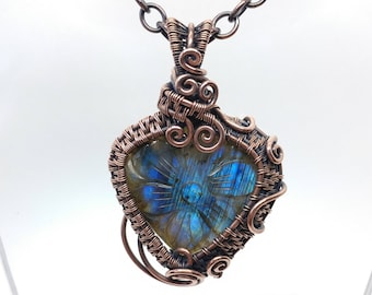 Blue Flash Labradorite Pendant | Antiqued Copper Wire Wrap Necklace | Carved Flower | Labradorite Necklace for Woman | Floral Woodland