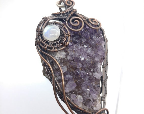 Amethyst Crystal Pendant | Amethyst Pendant Necklace | Wire Wrapped Copper Pendant | February Birthstone | Rainbow Moonstone Accent