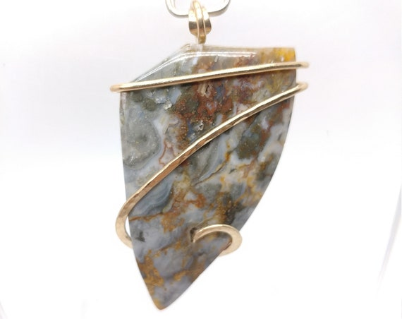 Widowmaker Blue Plume Agate Pendant | Blue Lace Agate Necklace | 14kt Yellow Gold Fill | Rare Stone Pendant | Included Agate Pendant