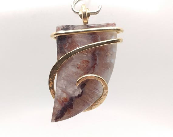Amethyst Lace Agate Pendant | Amethyst Crystal Pendant | 14kt Yellow Gold Filled Pendant | Amethyst Pendant Necklace | February Birthstone