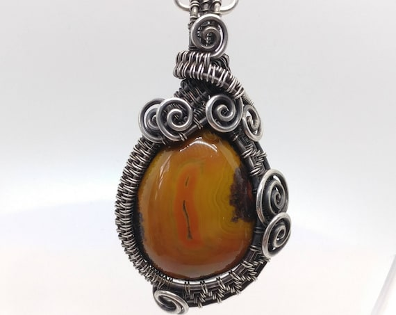 Carnelian Stone Pendant | Oxidized Sterling Silver | Orange Gemstone Pendant | Zhanguo Warring States Agate | Heady Pendants | Chinese Agate
