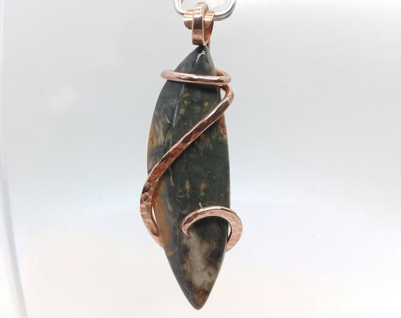 Rustic Watercolor Jasper Pendant Necklace in Hammered Recycled Copper Stone Mined In Oregon