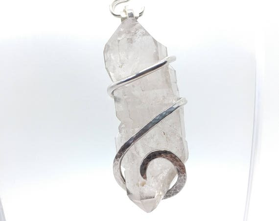 Raw Quartz Crystal Pendant | Raw Crystal Pendant | Sterling Silver Pendant Necklace | Double Terminated Quartz Crystal | Skeletal Quartz