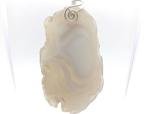 Shadow Parallax Agate Pendant Necklace | Sterling Silver Pendant | Semiprecious Gemstone Pendant | White Necklace for Wife