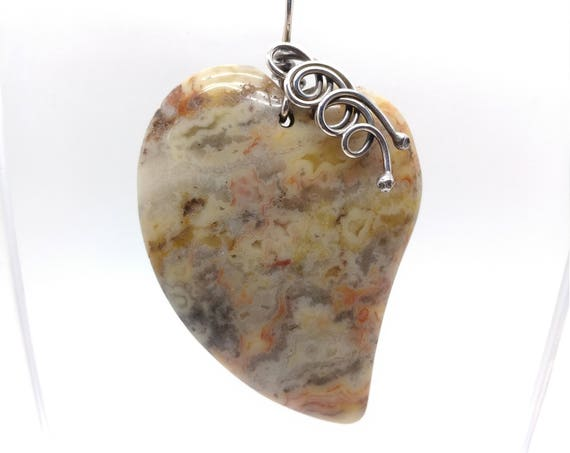Crazy Lace Agate Heart Shaped Pendant Necklace in Oxidized Sterling Silver