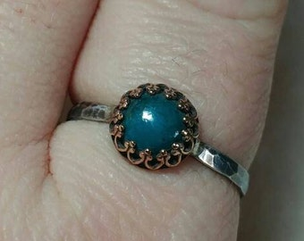 Victorian Blue Stone Ring | Mixed Metal Ring | Chrysocolla Ring | Sterling Silver Ring Sz 10.25 | Blue Green Stone Ring | Rustic Stone Ring