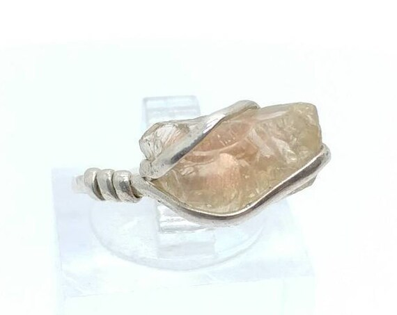 Raw Oregon Sunstone Crystal Ring in Sterling Silver Sz 6.75