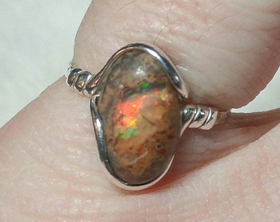 Cantara Precious Opal Ring in Sterling Silver Sz 6.75