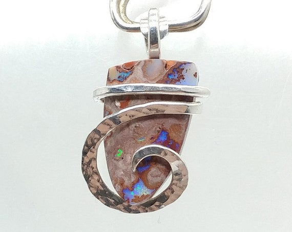 Dainty Cantara Boulder Opal Stone Pendant Necklace in Hammered Sterling Silver One of Our Best Selling Items Mined in Mexico