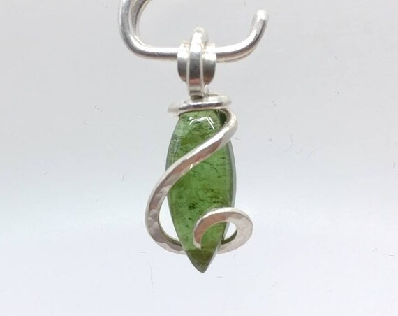 Dainty Chrome Green Tourmaline Gemstone Pendant Necklace in Sterling Silver Clearance