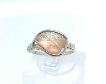 Oregon Sunstone Ring | Raw Crystal Ring | Sterling Silver Ring Sz 5 | Schiller Oregon Sunstone Ring | Raw Stone Ring | Rough Oregon Sunstone