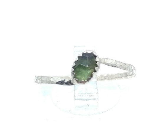 Rose Cut Forest Green Sapphire Ring in Sterling Silver Ring Sz 9