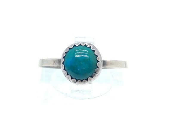 Round Ocean Blue Chrysocolla Stone Ring in Sterling Silver Ring Sz 8 a Handmade Gift for Her Clearance