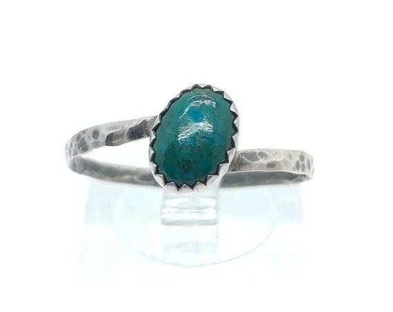 Simple Blue Ring | Aqua Blue Stone Ring | Sterling Silver Ring Sz 9 | Blue Green Stone Ring | Chrysocolla Ring | Mermaid Ring