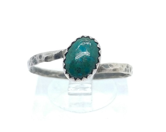 Oval Mermaid Blue Green Chrysocolla Gemstone Ring in Hammered Sterling Silver Sz 9 Clearance
