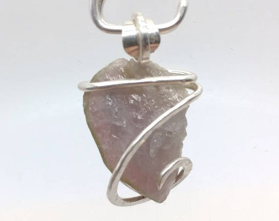 Raw Watermelon Tourmaline Crystal Pendant in Sterling Silver