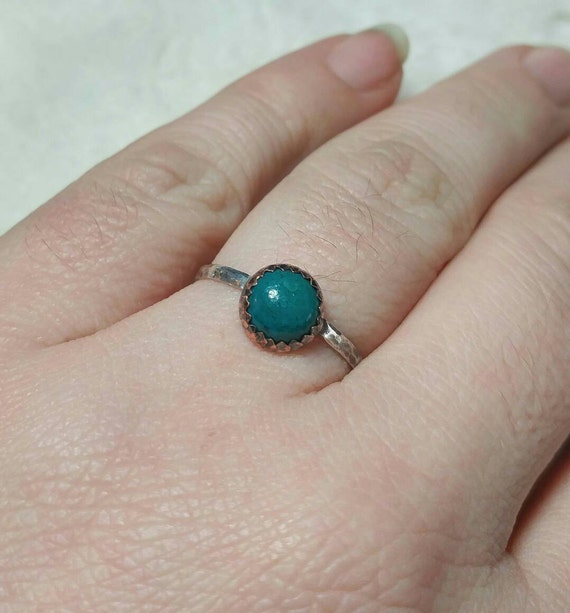 Rustic Stone Ring   Chrysocolla Ring   Mixed Metal Ring   Sterling Silver Ring Sz 8.75   Copper Ring   Tribal Rings for Women   Boho Ring