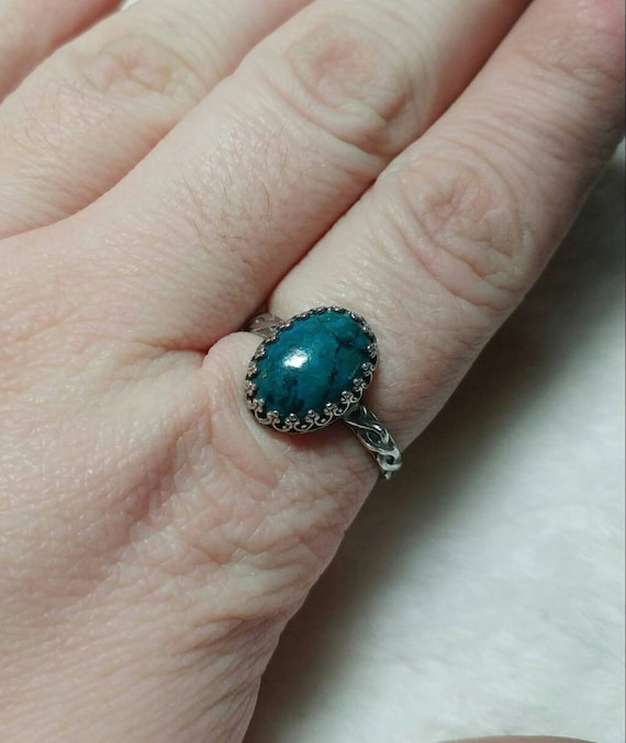 Victorian Blue Stone Ring   Chrysocolla Ring   Sterling Silver Ring Sz 11   Blue Green Gemstone Ring   Ocean Blue Statement Ring